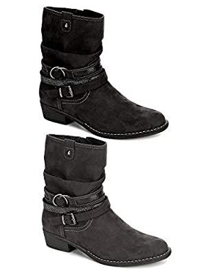 XAPPEAL Womens Shin High Low Heel Slouch Boot Shoes