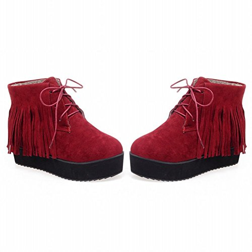 Carolbar Womens Comfort Lace up Tassels Casual Spring & Fall Warm Platform Short Boots Wine Red YkhUx
