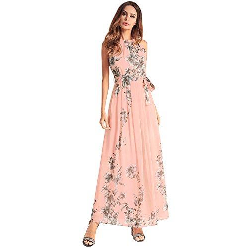 Vestido Vestido powder XIU Mujer Vestido RONG De Un Un A Y Con Chiffon Un Largo De Hc4SWwqP
