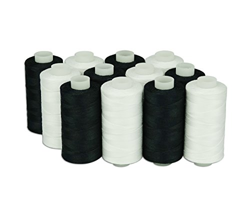 6 White 6 Black 550 Yards Each Simthread 12 Multi Colors 100/% Cotton Sewing Thread 50s//3 for Quilting etc