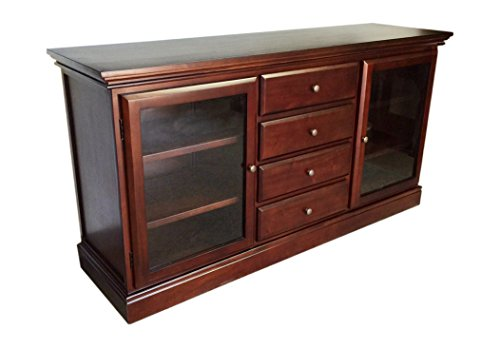 Buffet Chippendale - D-Art Collection Glass Front Console Buffet Bookcase in Mahogany Wood