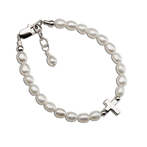 Cultured Pearl Freshwater Charm Bracelet (Children's Sterling Silver Cultured Pearl Bracelet with Cross for First Communion, Baptism or Christening)