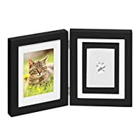 Paw Prints Keepsake Photo Frame by Better World Pets – Holds 4 x 6 inch Picture – Memorial Clay Imprint Kit – For Dogs and Cats – Perfect for Pet Lovers