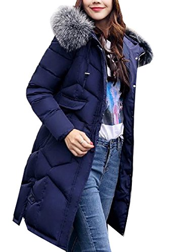 Womens Hood Winter AGAING Big Cotton Basic Down Dark Pockets Solid Long Blue dwAE5qETxO