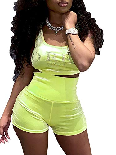 Adogirl Sexy Summer Outfits 2 Piece Outfits for Women Sequin Rhinestone Letter Crop Tank Top Shorts Pants Sets Sportwear Romper Clubwear Yellow
