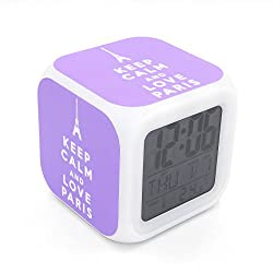 Boyan Led Alarm Clock Keep Calm Paris Eiffel Tower Purple Design Creative Desk Table Clock Glowing Electric Led Digital Alarm Clock Kids Toy Gift