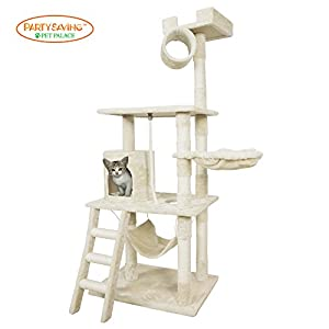 PET PALACE Cat Tree Kitten Activity Tower Condo with Hammock, Deluxe Scratching Posts, and Rope, APL1354, Ivory