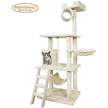 PET PALACE Cat Tree Kitten Activity Tower Condo with Hammock, Deluxe Scratching Posts, and Rope, APL1354