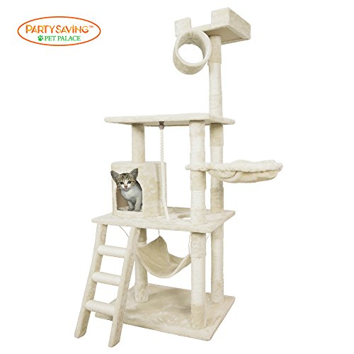 PET-PALACE-62-Cat-Tree-Kitten-Activity-Tower-Condo-with-Hammock-Deluxe-Scratching-Posts-and-Rope-APL1354