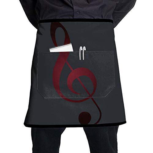 Nicokee Chef Aprons Music Notation Waist Tie Half Bistro Apron for Home Kitchen Cooking ()