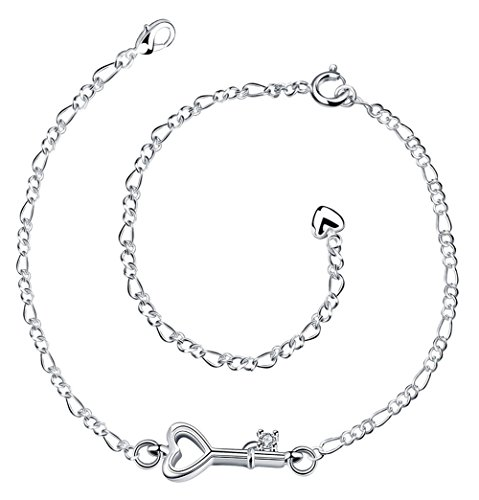 Cutesmile Fashion Jewelry 925 Sterling Silver Cute Love Key Zircon Pendant Adjustable Chain Anklet