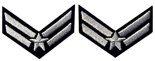US Air Force Airman Uniform Embroidered Iron On - Air Force Rank Patches