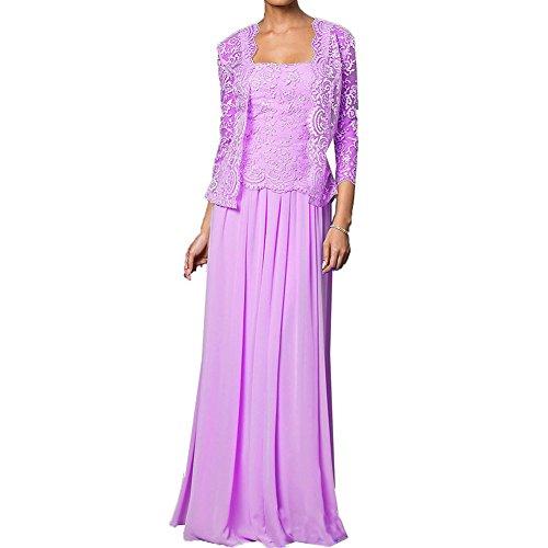 Kleider Braut der Jacken Flieder HWAN Spitze Kleid Mutter Wraps Chiffon mit formale lange Saxn0xq