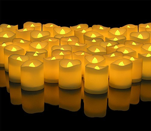 LED Lighted Flickering Votive Style Flameless Candles - Banberry Designs - Box of 96 - Wedding Decorations - Faux Candles - Flameless Candle Set - Centerpieces by Banberry Designs by Banberry Designs