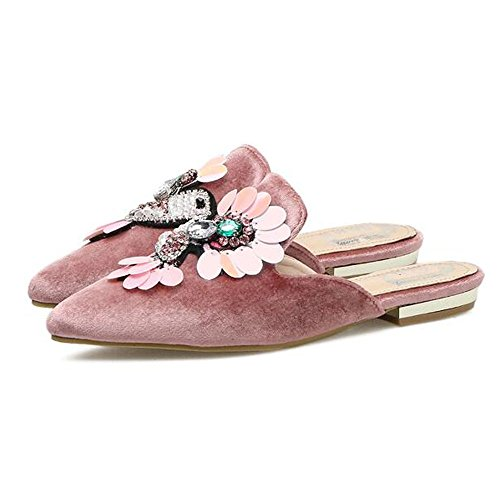 Summer Mule Toe Women Fashion Suede Flat Comfort Slippers Slides Pointy Faux Slduv7 Pink Shoes qg5vS