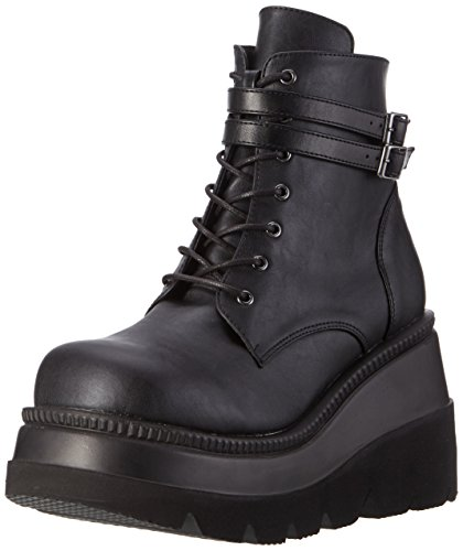 Women's Shaker Ankle Vegan Demonia 52 Black Boot Leather Black AxwnZq