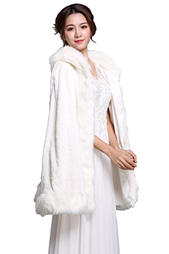 Women's Handmade Sleeveless White Faux Fur Wedding Bridal Stole
