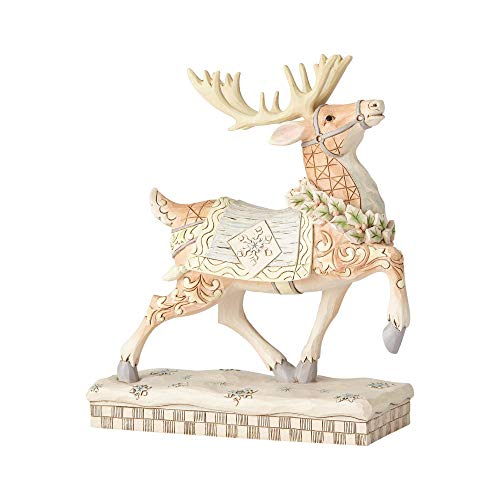 Enesco Jim Shore Heartwood Creek White Woodland Prancing Reindeer Figurine, 8