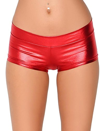 iHeartRaves Metallic Rave Booty Dance Shorts (Small, Red)
