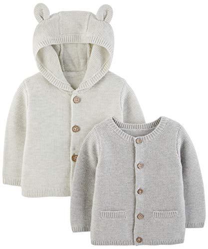 Simple Joys by Carter's Baby 2-Pack Neutral Knit Cardigan Sweaters, Grey, 18 Months