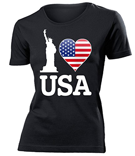 I Love USA - American - Cooles Fun mujer camiseta Tamaño S to XXL varios colores Negro