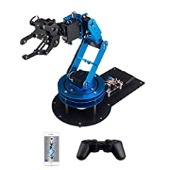Features: Metal Construction: Aluminum Bracket + Metal Larger Bottom Plate 6DOF structural design can make the robotic arm move flexibly, so it can grab objects in any direction All using high-precision digital servo, which make control more ...