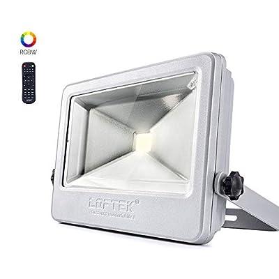 LOFTEK 12-Pack NOVA Plus 50W Timing RGB Flood Light, 6 Levels of Adjustable Brightness Floodlight,16-Color RGB Lighting Outdoor Waterproof IP66 Spotlight with Auto Shut-Off, Silver