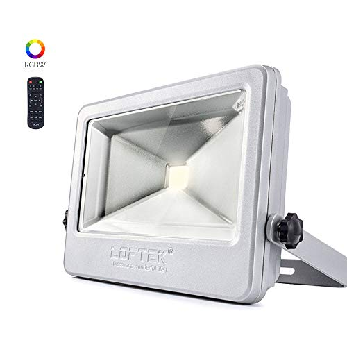 LOFTEK 50W RGB Floodlight, Outdoor Color Changing Flood Light with Dimming and Timer Setting Function, Waterproof IP 66 Spotlight for Lawn and Garden,Silver ()