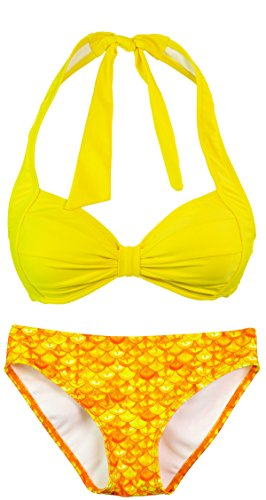 Fin Fun - Mermaidens - Bikini para mujer - Motivo de sirena Amanecer tropical/amarillo