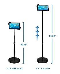 Mount-It! iPad Floor Stand Height Adjustable Tablet Mounts Fits iPad 2, 3, 4, Air Samsung Galaxy Tab, Adjustable Gooseneck Full Motion Rotating For Public Display POS and Kiosk