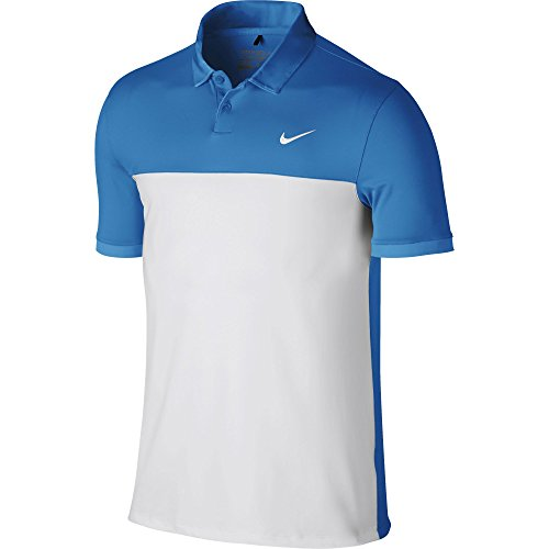 Nike Golf Men's Icon Color Block Polo 725527, Lt Photo Blue/White, X-Large