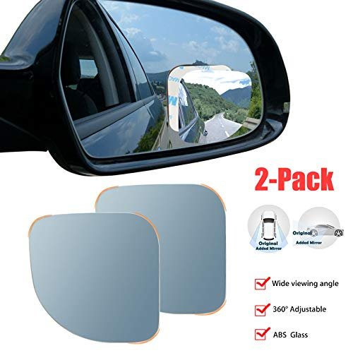 PRETTYGAGA Blind Spot Mirror, Rearview Convex Adjustable Side Mirrors, Frameless Sway Rotate Wide Angle Rear View Mirror HD Glass Fan Shape Stick