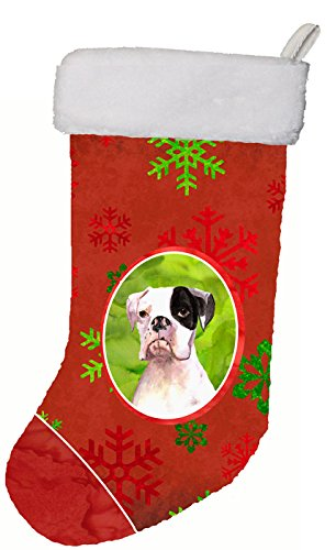 Caroline's Treasures Cooper Red Snowflakes Boxer Christmas Stocking, 11 x 18