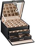 Glenor Co Earring Organizer Holder - 50 Small & 4 Large Slots Classic Jewelry Box with Drawer & Modern Closure, Mirror, 3 Trays Earrings, Ring or Chain Storage - PU Leather Case - Black: more info