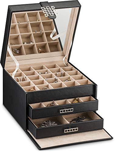 (Glenor Co Earring Organizer Holder - 50 Small & 4 Large Slots Classic Jewelry Box with Drawer & Modern Closure, Mirror, 3 Trays Earrings, Ring or Chain Storage - PU Leather Case - Black )