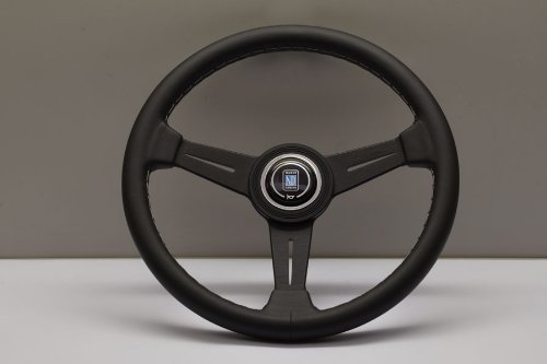 (Nardi Steering Wheel - Classic - 340mm (13.39 inches) - Black Leather with Grey Stitching and Black Anodized Spokes - Black Aluminum Ring - Part # 6061.34.2001)