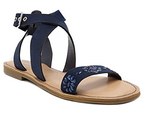 Rampage Women's Tera2 Strappy Flat Open Toe Sandal with Gem Stones 9.5 Navy - Iona Flat Shoe