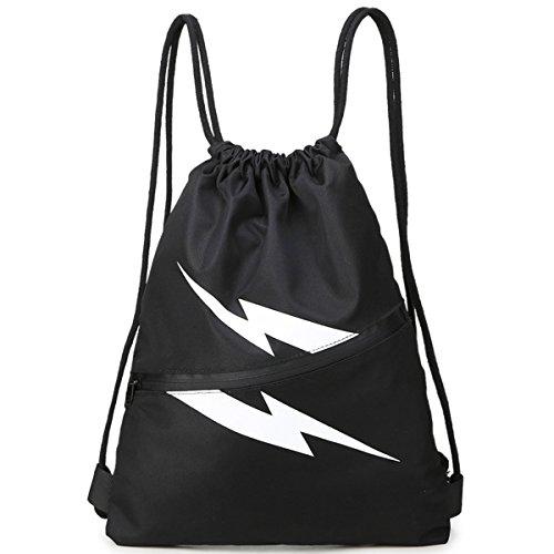 Bathing Suit Bag Waterproof Drawstring Bag Sports Gear Bag Portable Sackpack Gymsack (Black)