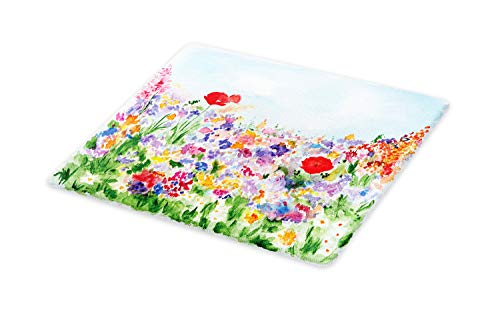 Ambesonne Watercolor Flower Cutting Board, Floral Summer Garden with Grass and Blooms Love Illustration Print, Decorative Tempered Glass Cutting and Serving Board, Small Size, Red Green
