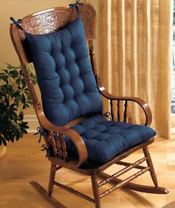 Charmant PADDED ROCKING CHAIR CUSHION SET   BLUE