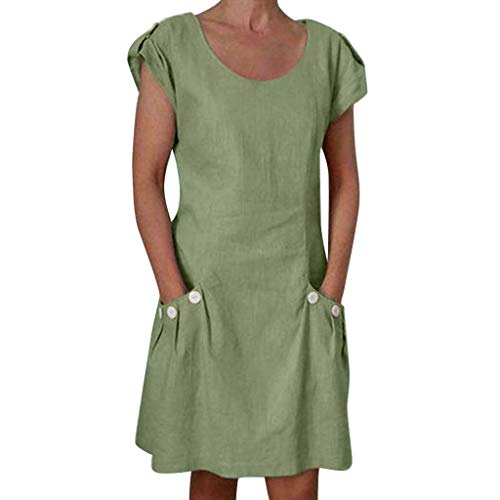 Veodhekai Women's Plus Size Dress Ruffled Pockets O-Neck Casual Solid Shift Daily Buttoned-Decor Dresses Green