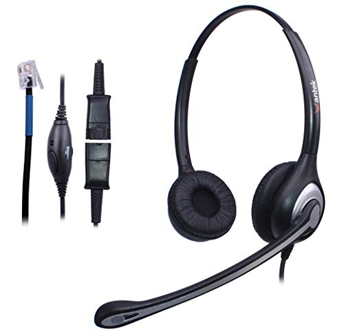 - Wantek Wired Telephone Headset Binaural, Call Center RJ9 Headsets with Noise Canceling Mic, Quick Disconnect, Compatible for Plantronics M10 M12 Amplifiers or Cisco 7942 7945 Office IP Phones(602QC3)