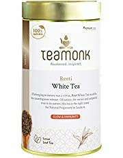 Teamonk Reeti Premium Himalayan Organic White Tea Loose Leaf (62 Cups)   100% Natural Tea   Powerful Antioxidant Tea Leaves   Tea for Glowing Skin   Immunity Boosting Tea   No Additives - 4.4 oz