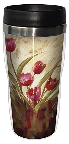 Tree-Free Greetings sg23690 Tulips Landscape by Nel Whatmore Travel Tumbler, 16-Ounce