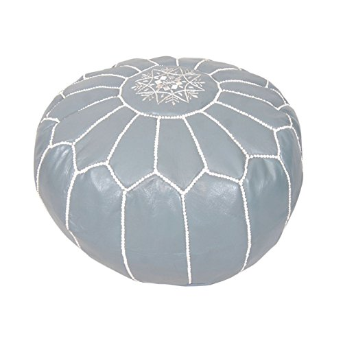 Moroccan Pouf Ottoman Footstool (Leather) Genuine Hand-Stitched Seating | Living Room, Bedroom, Sitting Area | Gray White | Exclusive Designs by Moroccan Home