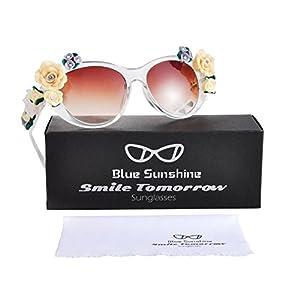 Sunglasses for Women Oversized Cat Eye Glasses Flowers Sunglasses Beach On Vaction UV400 Protection(Crystal)