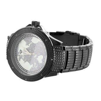 Mens Stylish Analog Stainless Steel Back Ice Mania Techno Kc Diamond Black Watch