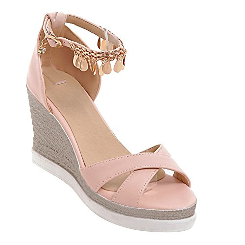 Charm Ornament Sandals Platform Pink Metal Wedges Womens Heeled Foot Elegant rwCBIrq
