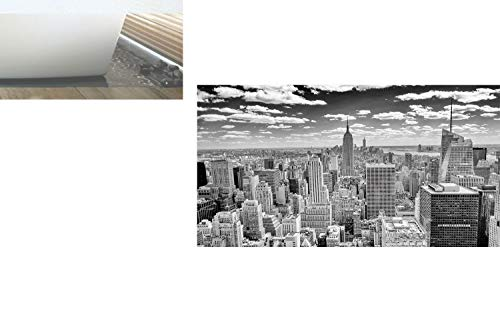 Decorative Privacy Window Film/NYC over Manhattan from Top of Skyscrapers Urban Global Culture Artful City Panorama/No-Glue Self Static Cling for Home Bedroom Bathroom Kitchen Office Decor Grey