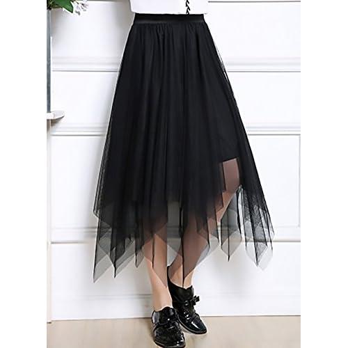 eeffeaf75ce Lovely Faldas Mujer Verano Malla Falda Larga Cintura Alta Vintage  Asimetricas Irregular Color Solido Hippies Moda